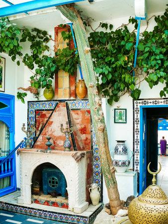 sidi bou said: Traditional white and blue interior of house in Sidi Bou Said, Tunisia. Editorial