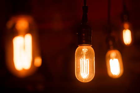 glower: Vintage light bulbs with glower filament. Incandescent, retro design.