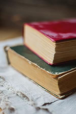 homespun: Two old books on homespun napkin. Interesting reading, vintage background.