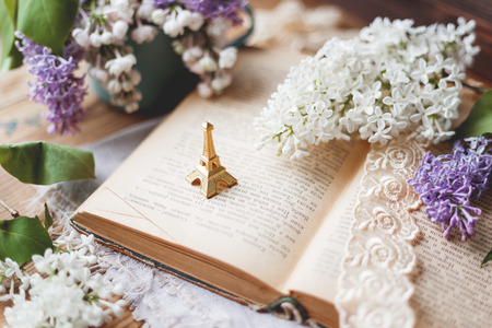 Still life with lilac flowers, book, lace bookmark and miniture Eiffel tower. Rustic vintage background. Interesting reading about France. Stockfoto