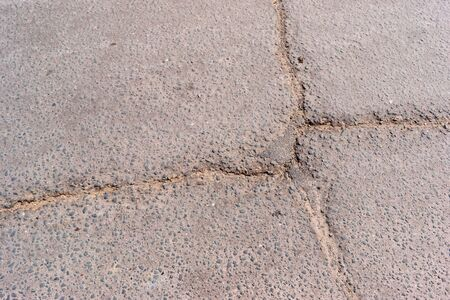 rupture: Crack in asphalt. Damaged pavement. Poor condition of the road surface.