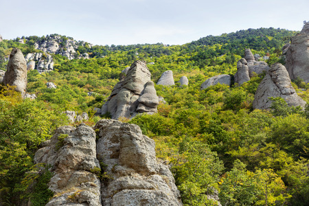 Famous Ghost Valley with strangly shaped rocks. Demerdji mountains. Crimea, Russia.