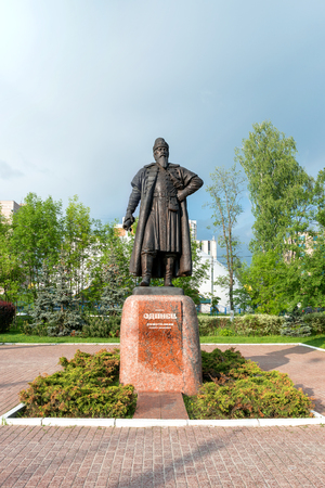boyar: ODINTSOVO, RUSSIA - May 23, 2016. Monument of boyar Odinets (Domotkanov Andrey Ivanovich), the founder of Odintsovo town, Moscow region. Editorial