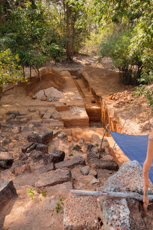 Archaeological excavations in Angkor Wat temple. Siem Reap, Cambodia.