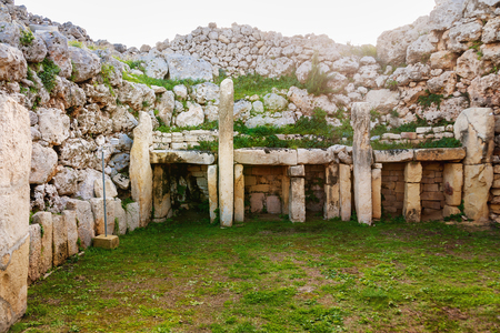 Neolithic megalith temple complex of Ggantija (Tempji Neolitici Tal-Ggantija, Giant Tower) on the island of Gozo in Malta.