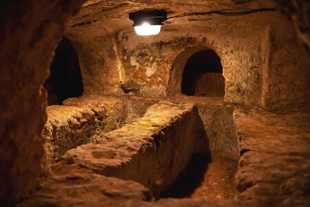 Famous landmark - ancient christian cemetery (catacombs) of Saint Paul. Rabat, Malta.