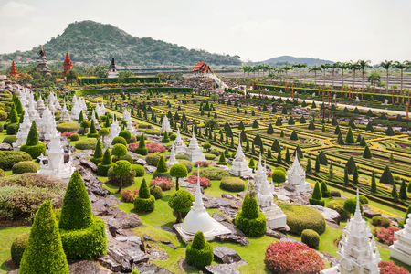 tropical garden: Nong Nooch Tropical Garden in Pattaya, Thailand. Panorama landscape view of formal garden.