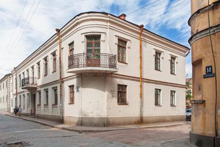 streetlife: VYBORG, RUSSIA August 11, 2009 - Old building in historic center of Vyborg (Progonnaya street, 12-14 buildings). Editorial