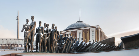 Tragedy of the people monument in Victory Park. Installed in 1997 in memory to the men killed by the Nazi genocide. Moscow, Russia. Panorama view. Editorial