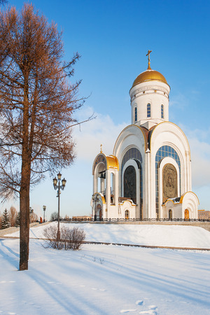Great Martyr Genus Temple (church of Saint George). Victory Park in Moscow. Russia.