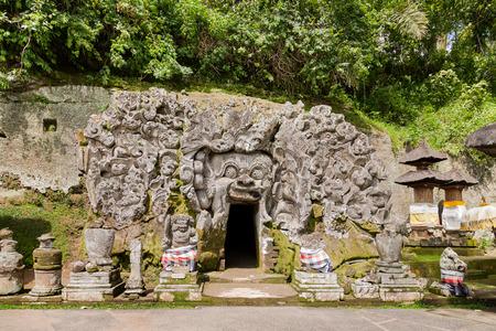 Goa Gajah Cave at Pura Goa Gajah Temple (the Elephant Cave Temple). Ubud, Bali island, Indonesia. Stock Photo