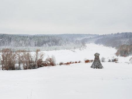 nikolay: NIKOLA-LENIVETS, RUSSIA - January 15, 2017. Artobject Lighthouse on the Ugra, one of the most famous and longstanding land-art projects by Nikolay Polisski. An idiosyncratic symbol of Nikola-Lenivets.