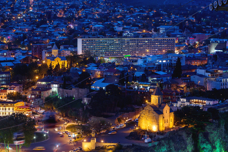 dome of the rock: Night aerial view on Metekhi Church of the Dormition of the virgin.Monument to Vakhtang I Gorgasali. Famous landmarks in Tbilisi, Georgia.