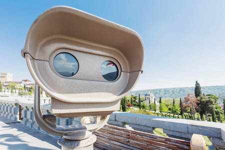 Binoculars for tourists on the view point near Sameba (Holy Trinity Cathedral of Tbilisi). Georgia country. Stock Photo