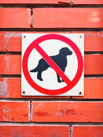"""Inscrivez-vous sur le mur de brique rouge - """"Les chiens ne sont pas autorisés"""". Interdiction de marcher avec des animaux de compagnie. Banque d'images - 88602098"""