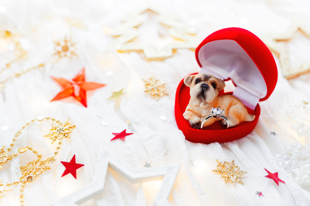 Christmas and New Year holiday background with decorations and light bulbs. Red gift box in shape of heart with dog figure and engagement ring in it. Symbol of 2018 year. Stock Photo