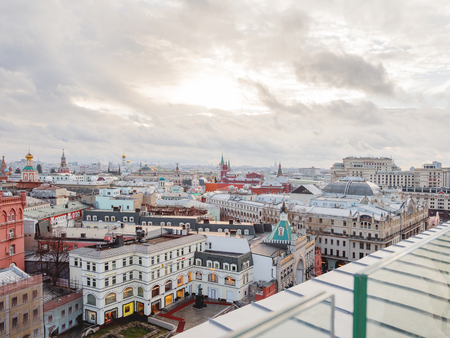 MOSCOW, RUSSIA - January 07, 2018. Panorama view on historic center of Moscow from Central Children Store. View on Zaikonospassky monastery, Metropol hotel, Kremlin, other landmarks. Editöryel