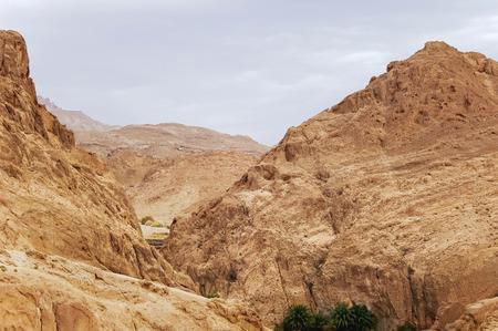 Rocks of oasis Chebika, famous landmark in Sahara desert. Tunisia.