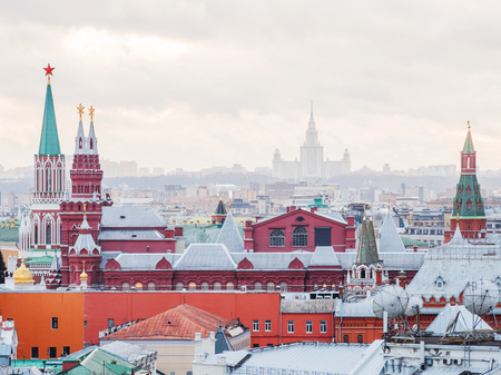 Aerial view on historic center of Moscow from Central Children Store. View Kremlin towers, Moscow State Univercity, other landmarks. Moscow, Russia.