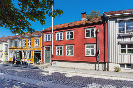 TRONDHEIM, NORWAY - July 15, 2017. Colorful buildings on streets of Trondheim, Norway. Scandinavian style of architecture.