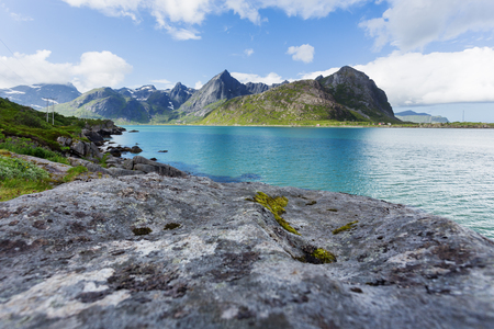 Beautiful scandinavian landscape with meadows, mountains and fjords. Lofoten islands, Norway.