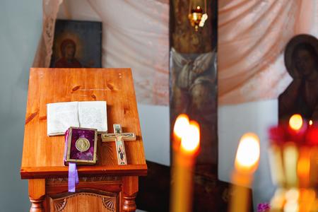 Golden religious utensils. Details in orthodox christian church. Russia. Stock Photo
