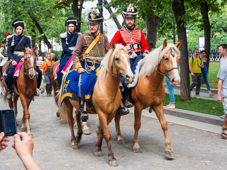 MOSCOW, RUSSIA - August 19, 2018. Hussar parade at the historical festival Times and Epochs. Historical reconstruction of 19th century.