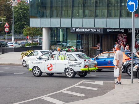 MOSCOW, RUSSIA - August 19, 2018. Fan of Ghostbusters movie repainted his car under the car of main characters.