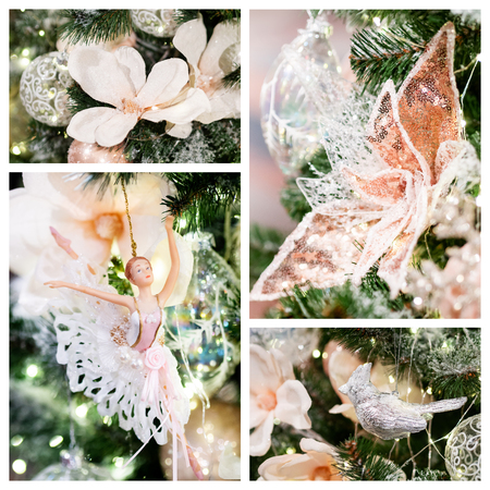 Collage of graceful ballerina, flowers and metal bird. Decorations for Christmas tree. Set of figures for New Year celebration.