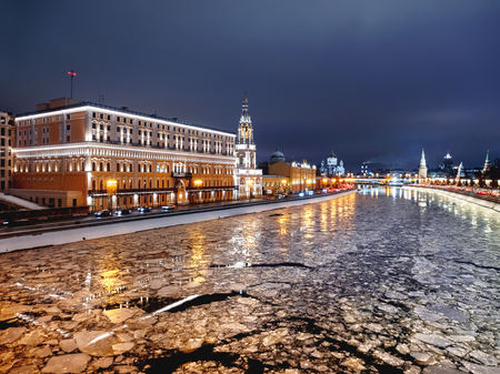 Panorama view of Moscow-river, Kremlin, CIS executive Committee, Saint Sophia Church on Sofiyaskaya embankment. Moscow, Russia.