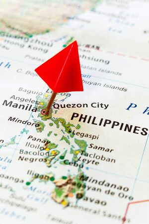 World map with pin on capital city of Philippines - Manila. Stok Fotoğraf