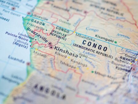 World map with focus on Democratic Republic of the Congo, also known as DRC, DROC, Congo-Kinshasa, with capital city Kinshasa.