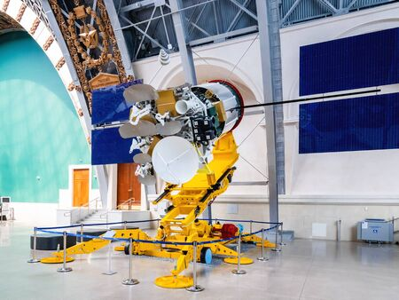 MOSCOW, RUSSIA - June 08, 2019. Ekspress-A series of communications satellites. Interior and showpieces of Pavilion Space and Transport. Exhibition of Economic Achievements (VDNH).