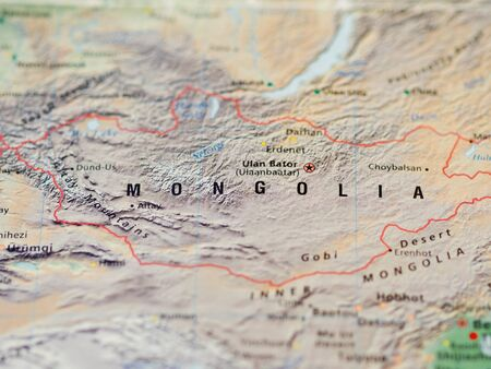 World map with focus on Mongolia with capital city Ulan Bator.