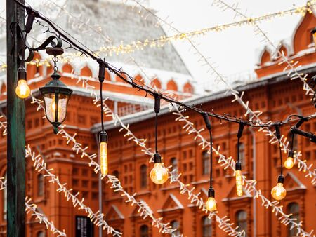 Vintage light bulbs with glower filament. Incandescent retro design. Decoration for New Year and Christmas celebration. Moscow, Russia.