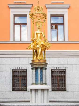 MOSCOW, RUSSIA - March 09, 2019. Building of famous Vakhtangov Theatre with golden statue of Princess Turandot. State academic theatre named after Eugene Vakhtangov on Arbat street.