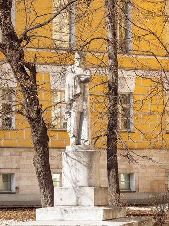 MOSCOW, RUSSIA - March 09, 2019. Monuments to A. Herzen in front of MSU Faculty of Journalism building. Faculty of the Moscow State University in old building of Pashkov manor (Pashkov House). Editöryel