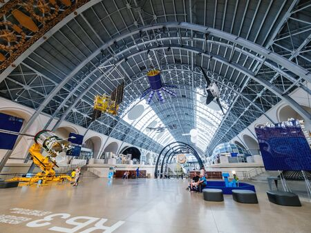 MOSCOW, RUSSIA - June 08, 2019. Interior and showpieces of Pavilion Space and Transport. Space stations and satellites on Exhibition of Economic Achievements (VDNH).