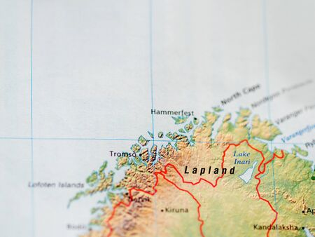 World map with focus on Lapland, the largest and northernmost region of Finland. Copy space.