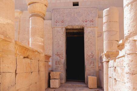 Architectural details of famous mortuary temple of Hatshepsut.   Deir El-Bahari, Egypt.