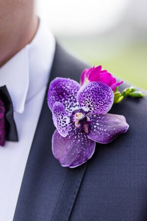 Boutonniere with freesia, violet orchid and pink rose with leaves. Traditional groom accessory at the wedding.