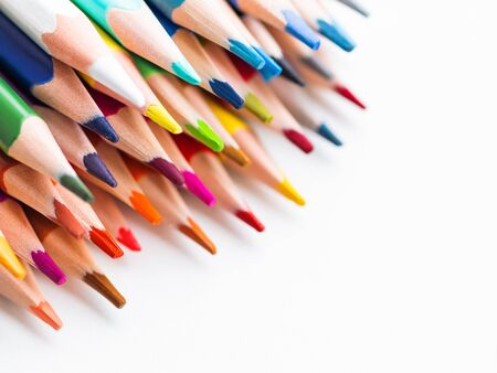 Row of colorful  pencils on  background. School supplies. Kid's stationery with  . Back to school backdrop. Stock fotó
