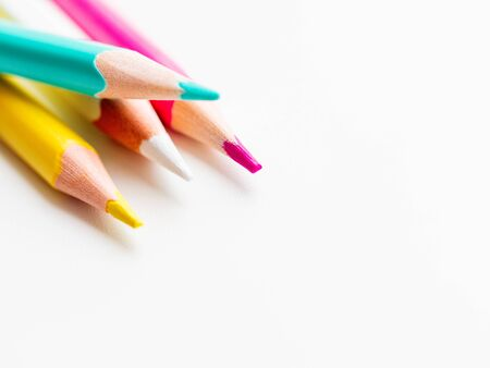 Colorful  pencils on  background. School supplies with  . Kids stationery. Back to school backdrop. Stock fotó