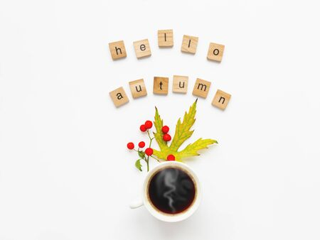 Cup of hot coffee with autumn leaves and berries on white background. Words HELLO AUTUMN. Warm beverage in white mug with copy space. 写真素材