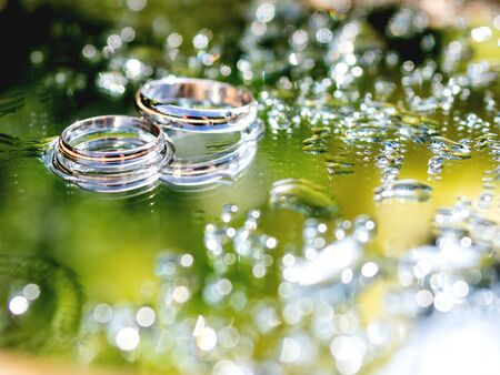 Pair of wedding rings on wet mirror surface with leaves reflection. Close up photo with traditional jewelry of bride and groom. Фото со стока - 130126019