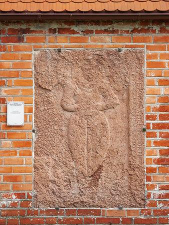 KALININGRAD, RUSSIA - July 15, 2019. Epitaph Albrecht Baron Zu Citelic, Regent and landgemeinden. Outside wall of Cathedral of Koenigsberg. 에디토리얼