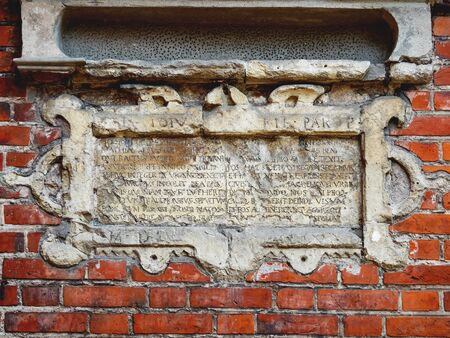 KALININGRAD, RUSSIA - July 15, 2019. Epitaph Matthiae Stoijus. Outside wall of Cathedral of Koenigsberg. 에디토리얼