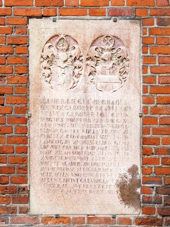 KALININGRAD, RUSSIA - July 15, 2019. Epitaph Ursula zu Pudlitz. Outside wall of Cathedral of Koenigsberg.