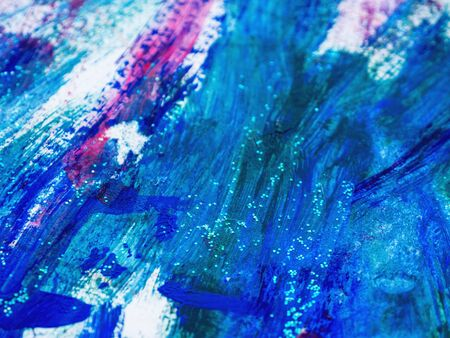 Abstract magenta and blue acrylic stains. Chaotic brush strokes. Textured artistic background. 写真素材