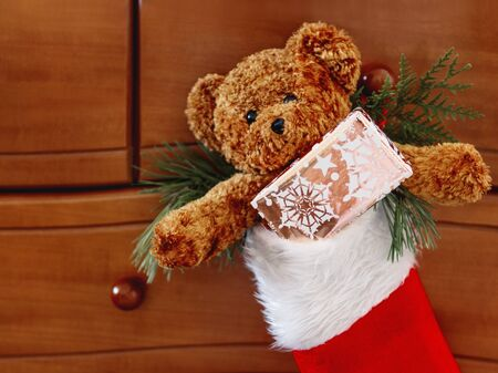 Brown teddy bear in red Santa Claus sock. Plush toy with Christmas present.  New Year gift in bright golden paper.